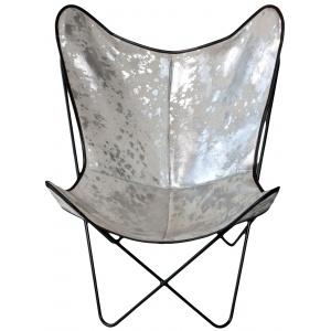 fauteuil vache blanc acide argent