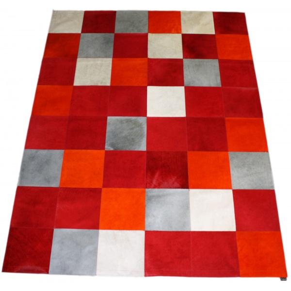 tapis vache mixte rouge
