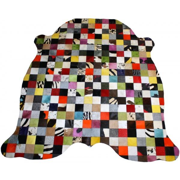 tapis en forme vache multicolore