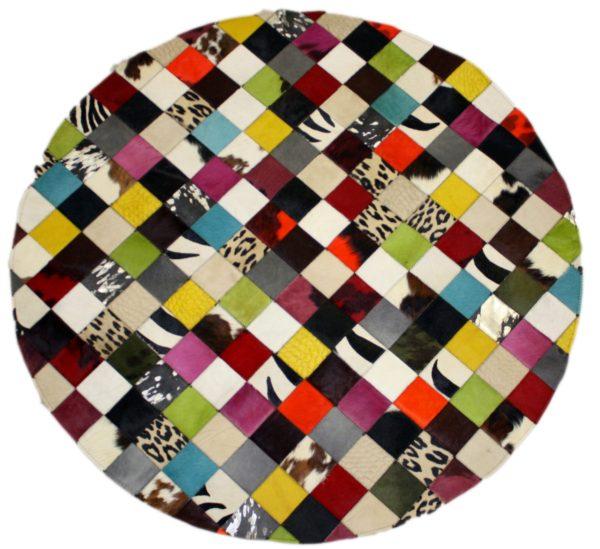 tapis patchwork rond vache multicolore