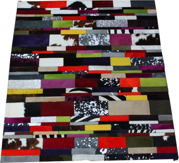 tapis vache rayé multicolore