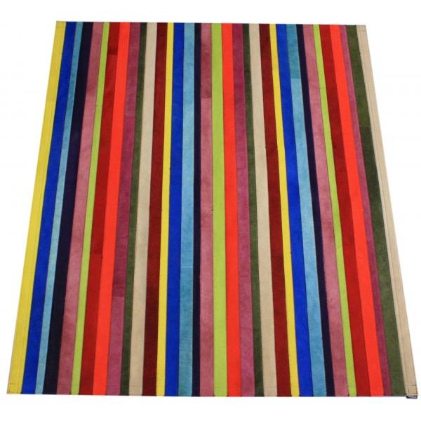 tapis vache rayé multicolore uni