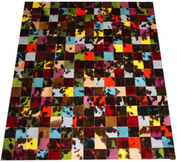tapis patchwork vache normande multicolore