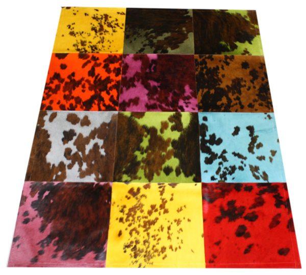 tapis vache normande multicolore grands carreaux