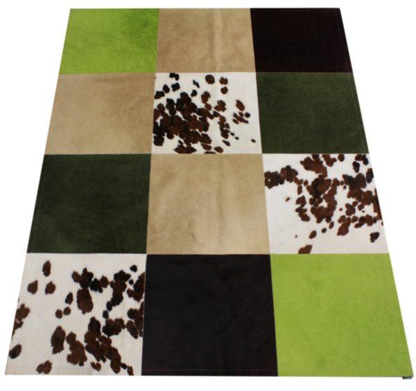 tapis vache mixte vert grands carreaux