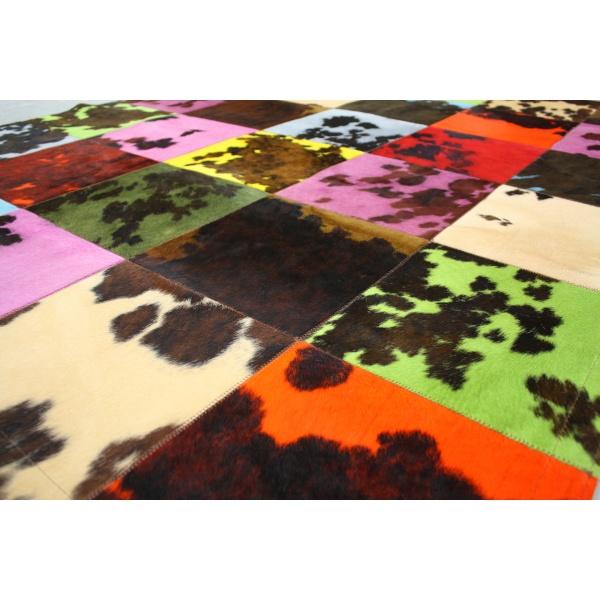 tapis peau de vache normande multicolore