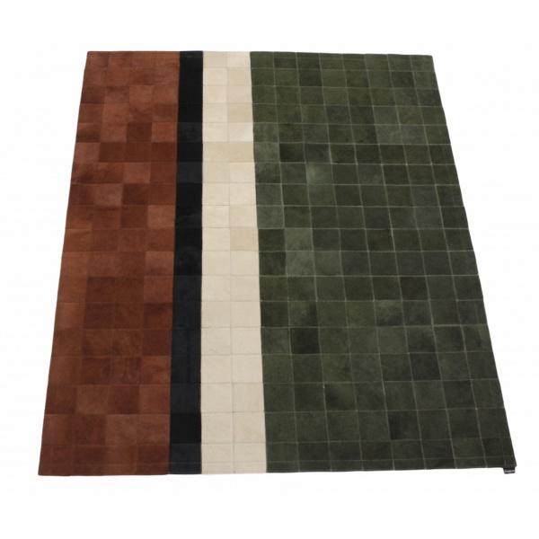 tapis en peau design kaki