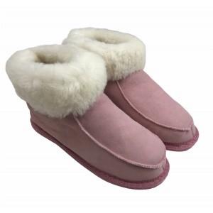 chaussons en peau de mouton rose