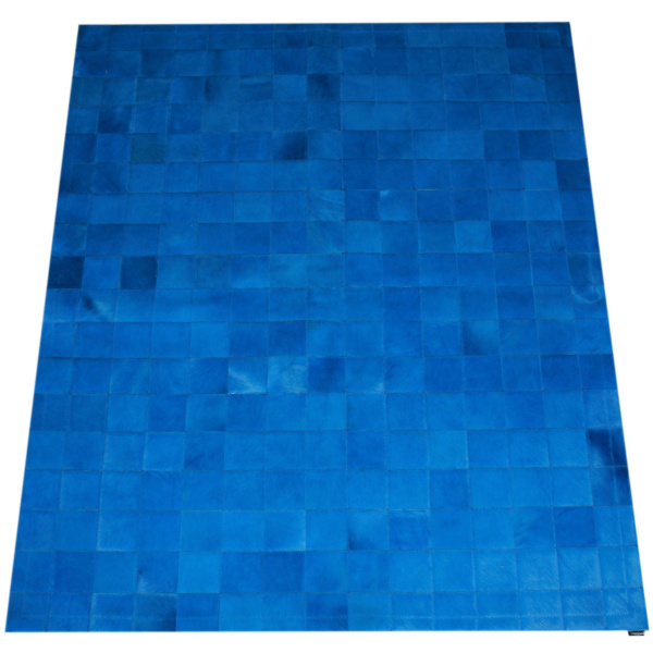 tapis patchwork vache bleu