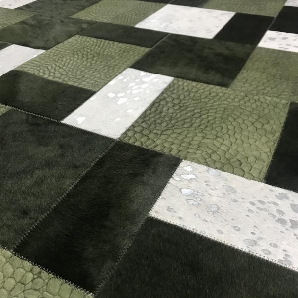 tapis vache mixte kaki