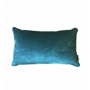 coussin peau de vache rectangle turquoise