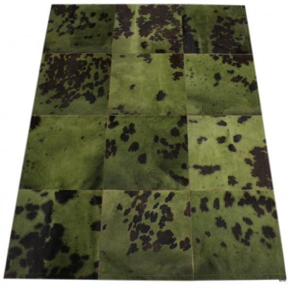 tapis vache normande kaki grands carreaux