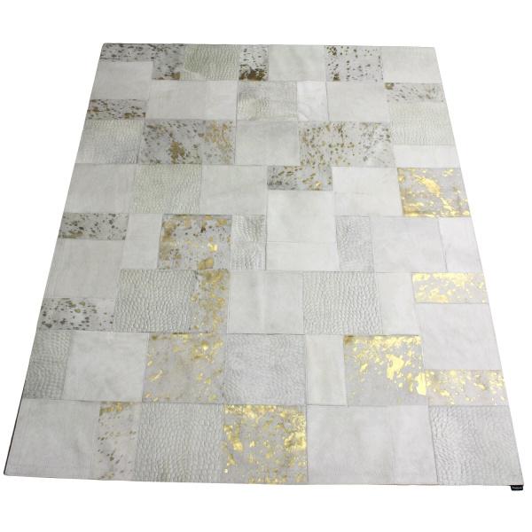 tapis vache mixte blanc or