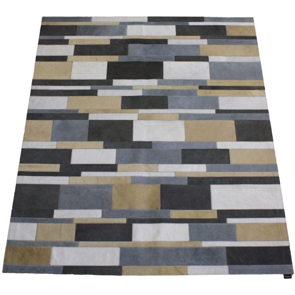 tapis vache rayé multicolore gris