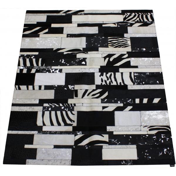 tapis vache rayé multicolore noir