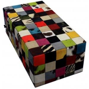 banquette peau de vache patchwork multicolore