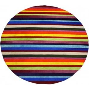 tapis vache rayé rond multicolore uni