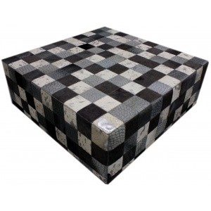 table en peau patchwork mixte gris