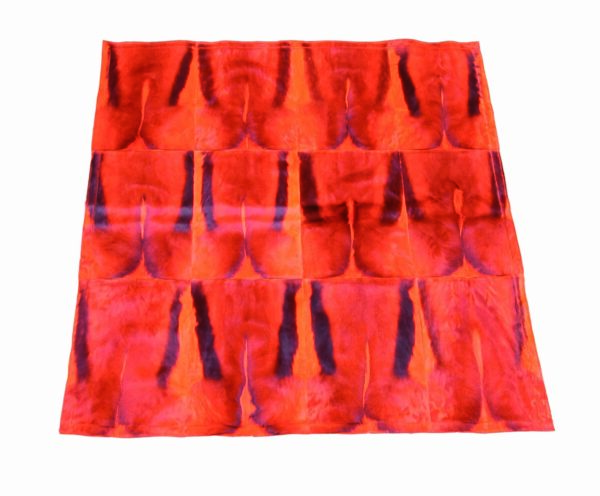 tapis en peau de springbok orange